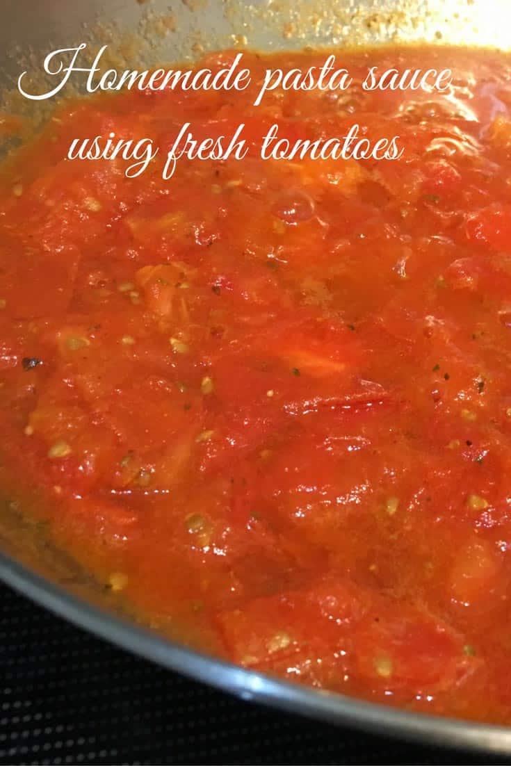 Homemade pasta sauce using fresh tomatoes image