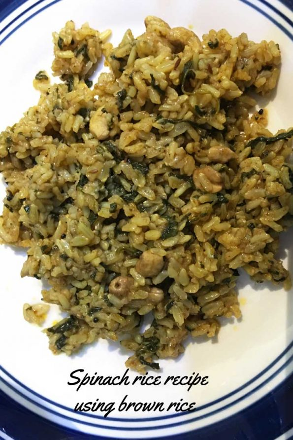 brown rice spinach recipe healthy
