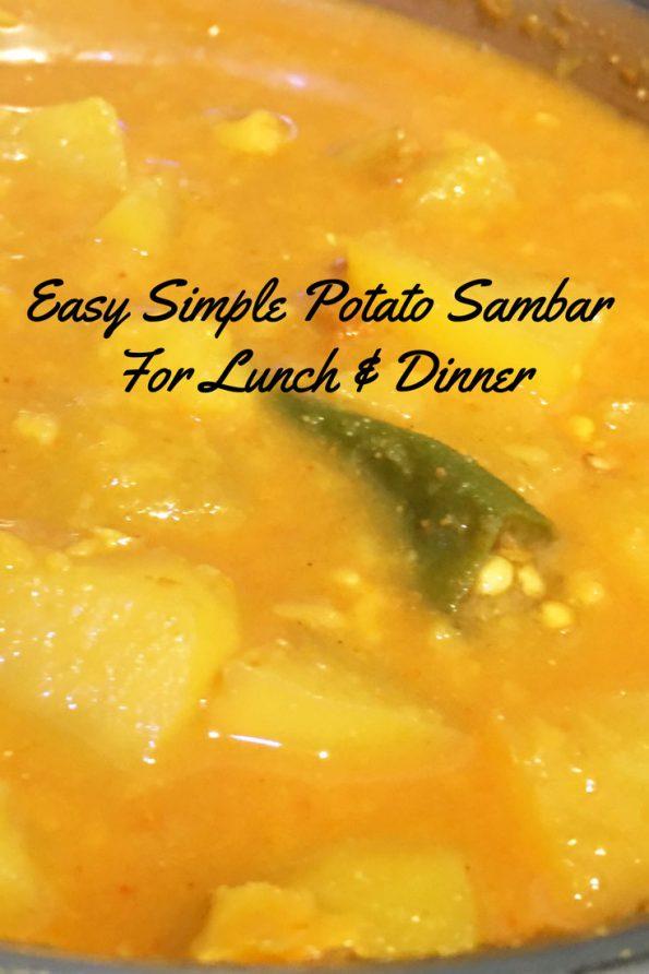 easy potato sambar for dosa idli rice recipe