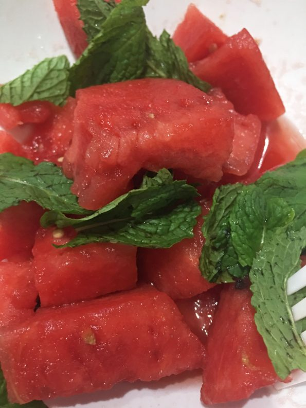 fresh watermelon salad vegan recipe without feta cheese