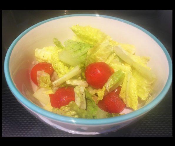 vegan romaine lettuce cherry tomatoes salad recipe