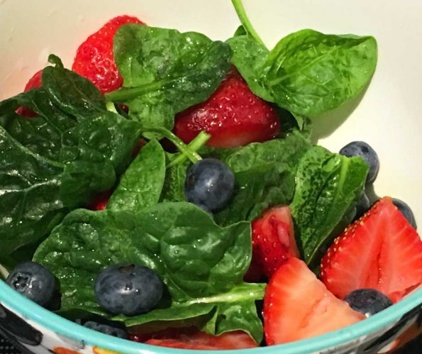 Strawberry Blueberry Spinach Salad Recipe clean eating vegan