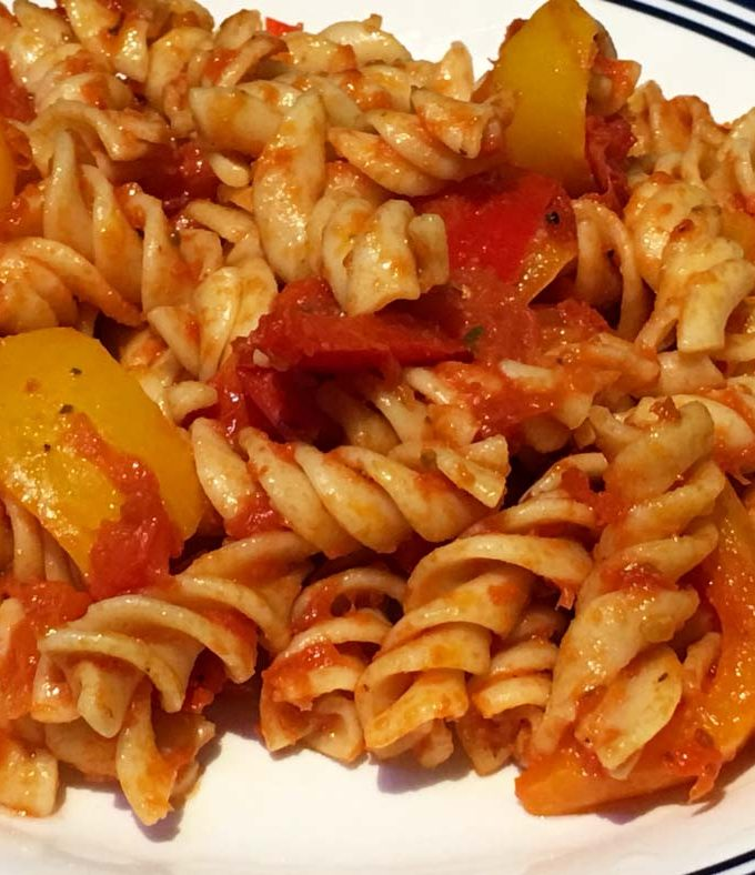 Bell Pepper Pasta Recipe – Red, Yellow & Orange Bell Peppers Pasta Recipe Without Cheese