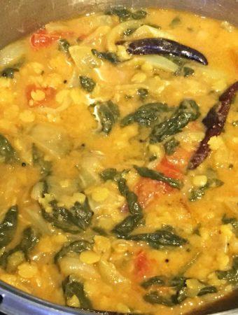 palak spinach sambar recipe