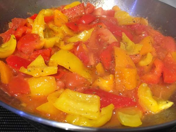 preparing bell pepper pasta sauce from scratch