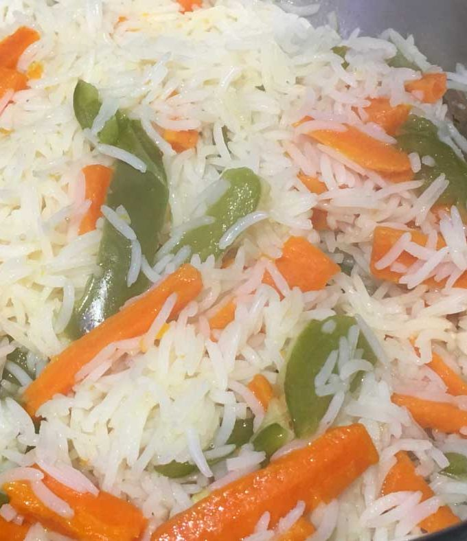 Mixed Vegetable Rice Recipe Using Carrots & Green Bell Peppers
