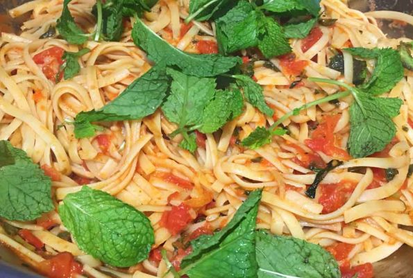 mint pasta with fresh tomatoes mint leaves