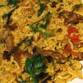 Simple Vegetable Biryani Recipe Using Fresh Tomatoes & Cilantro Leaves