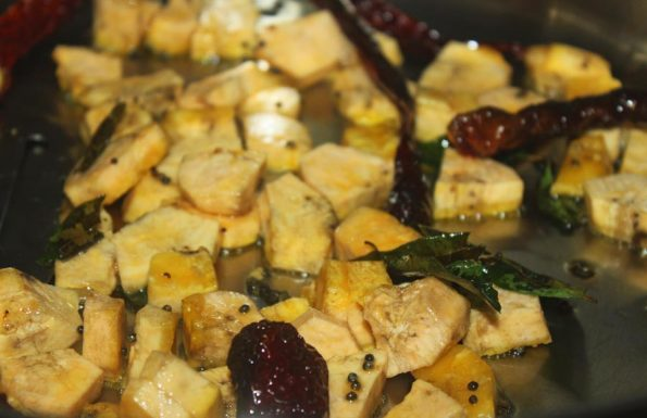 how to make vazhakka mezhukkupuratti kerala recipe