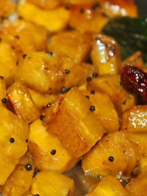 kaya mezhukkupuratti kerala style recipe