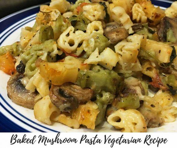baked mushroom pasta vegetarian recipe