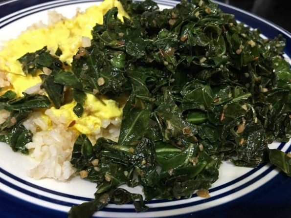 collard greens with brown rice indian style