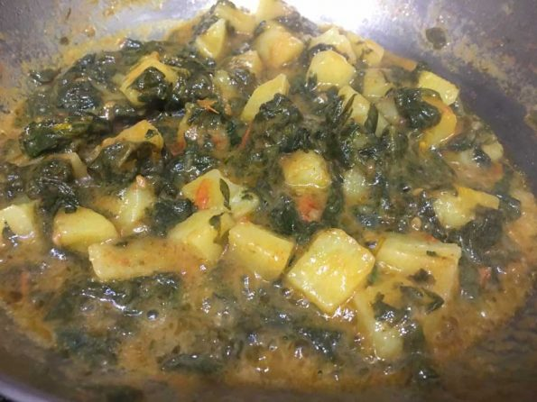 spinach potato curry for rice