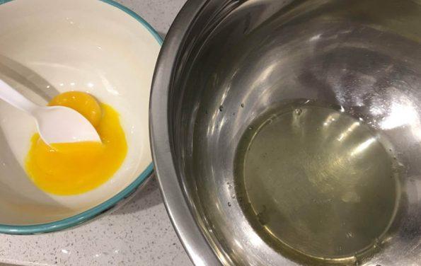 egg whites separated from egg yolks