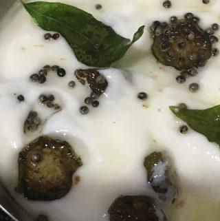 Vendakka Pachadi Recipe Without Coconut  – Vendakka Kichadi Kerala Recipe – Okra In Yogurt Curry/Gravy South Indian Recipe