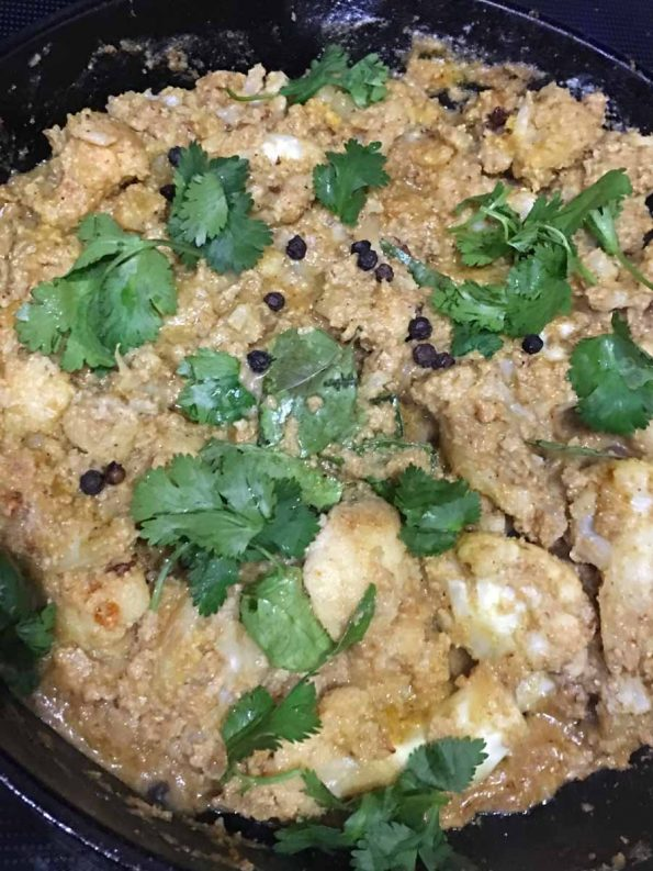 cauliflower coconut curry for chapathi
