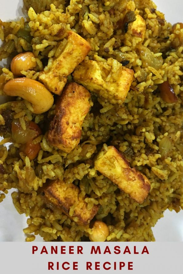 Paneer masala rice recipe