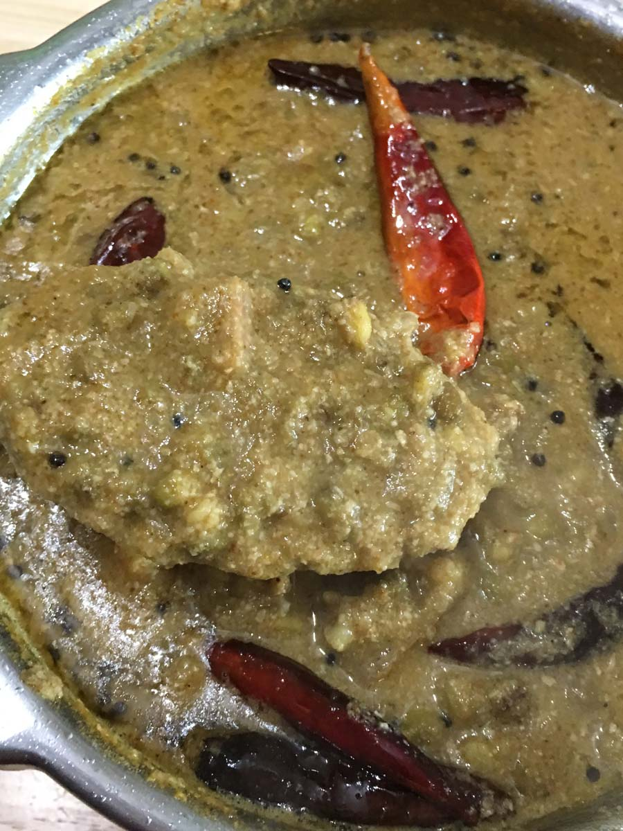 Raw Banana Currygreen Plantain Curry Recipe With Mung Beans