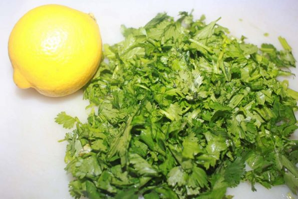 cilantro leaves lime for making rice