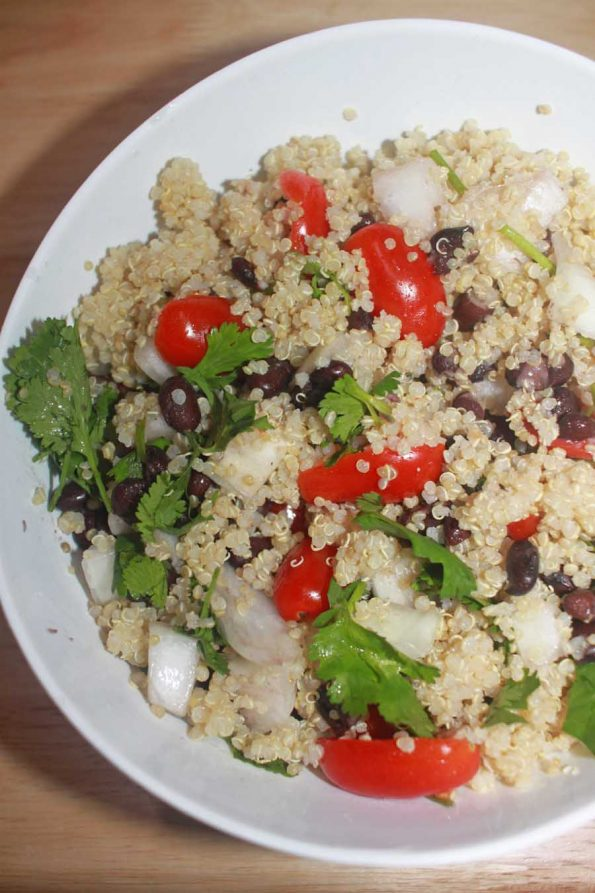 quinoa black bean salad recipe with onions and tomatoes