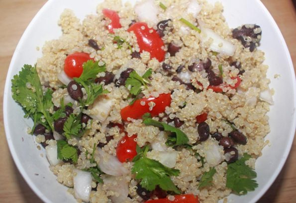 quinoa black salad with tomatoes and onions