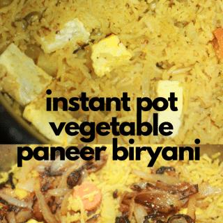 instant pot vegetable paneer biryani recipe indian
