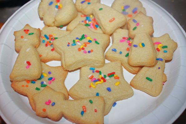 cut out sugar cookies with sprinkles