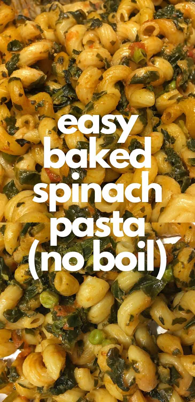 baked spinach pasta vegetarian recipe
