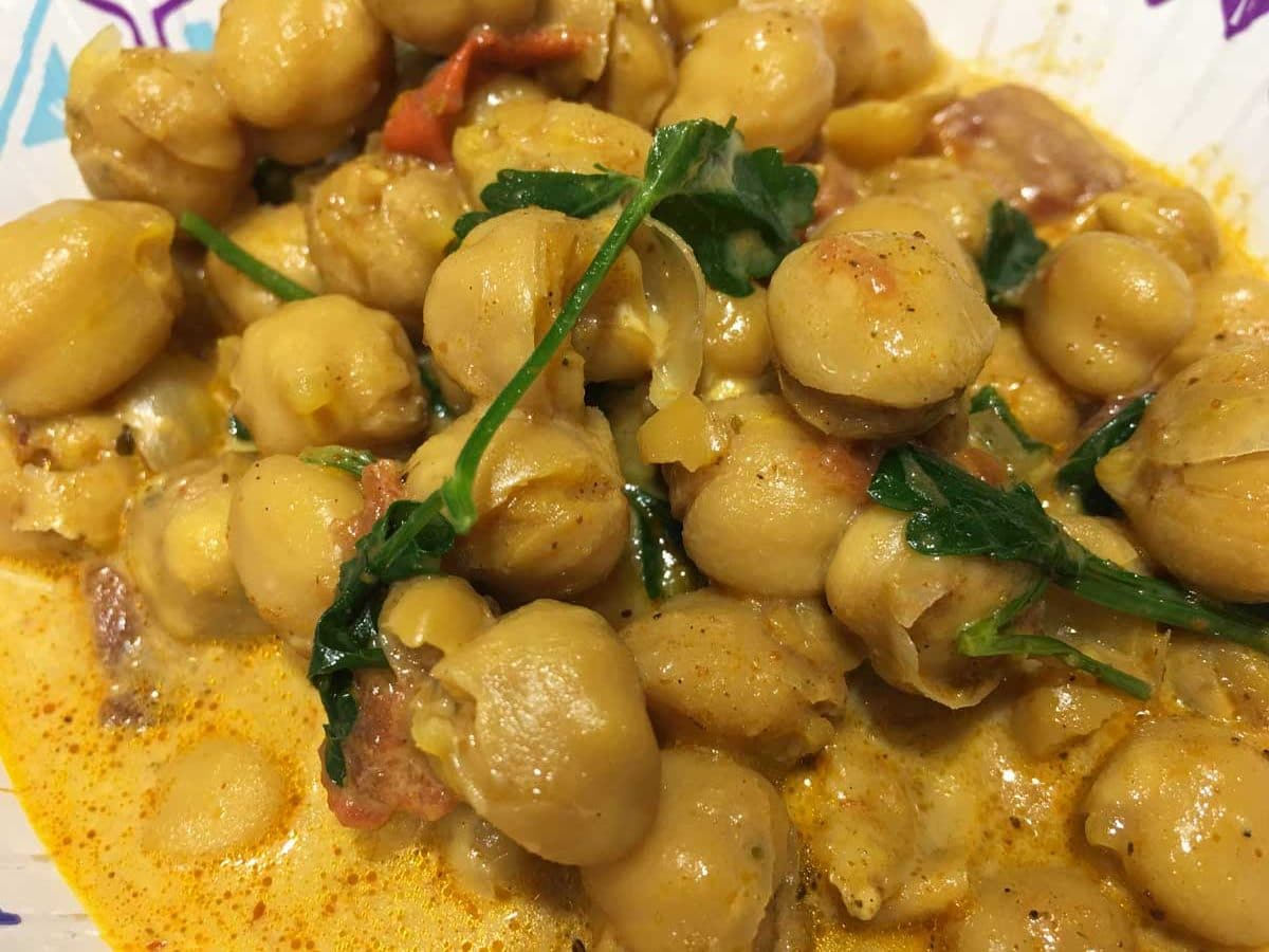 dump start instant pot chickpea curry vegetarian recipe