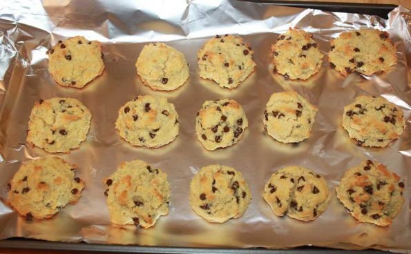 coconut flour chocolate chips cookies baked