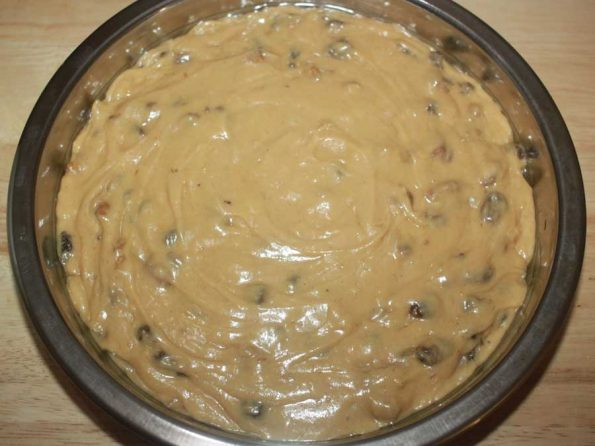 moist fruit cake batter preparation