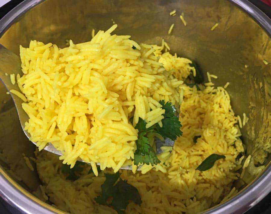 instant pot yellow turmeric rice