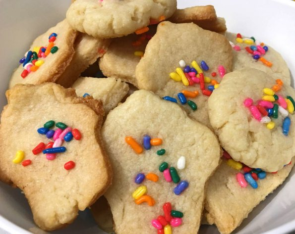 eggless sugar cookies with colorful sprinkles