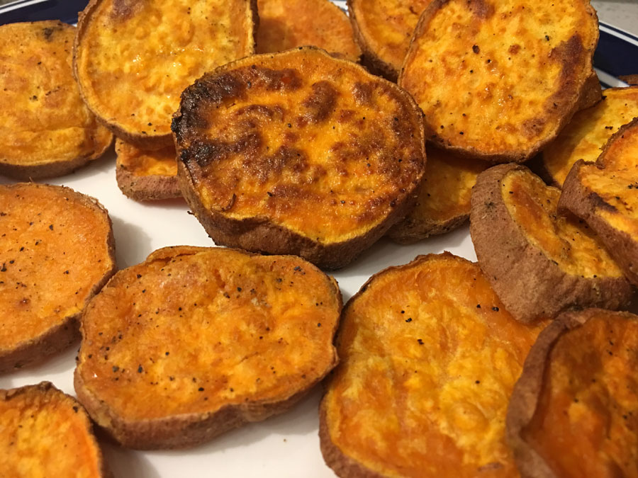 sweet potatoes sliced and roasted