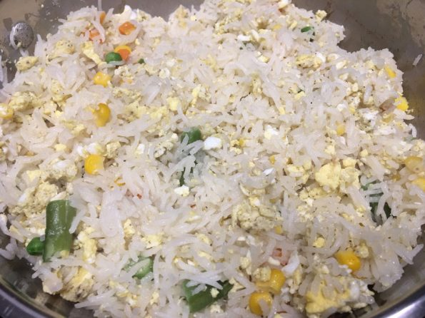 cooked rice with eggs veggies