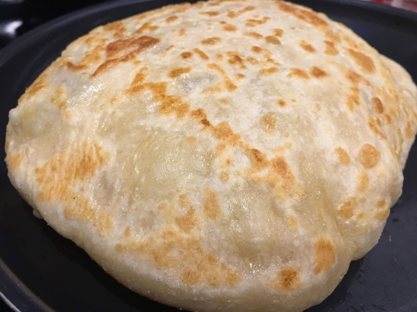 aloo parathas puffed up