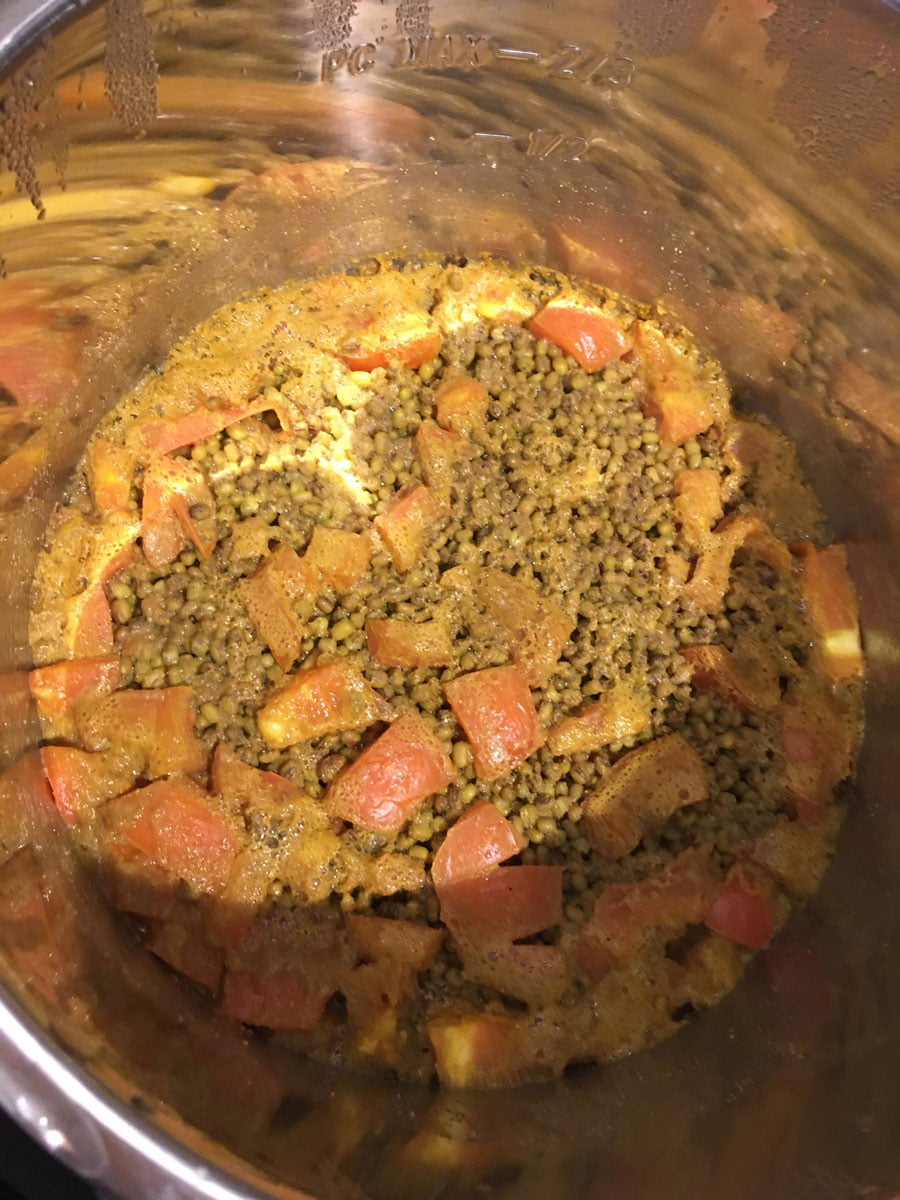 green moong dal cooked with tomatoes
