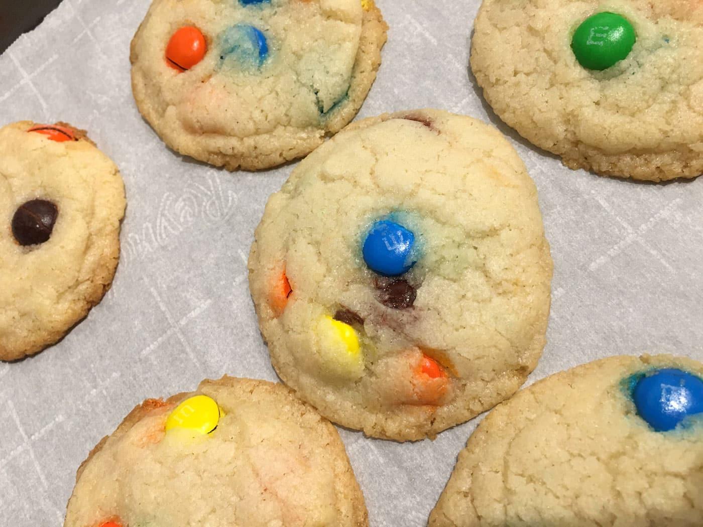 m&m cookies eggless
