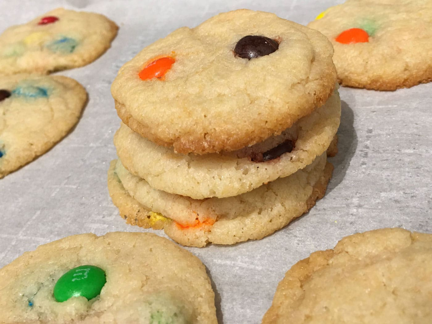 m&m cookies moist soft eggless crispy on edges