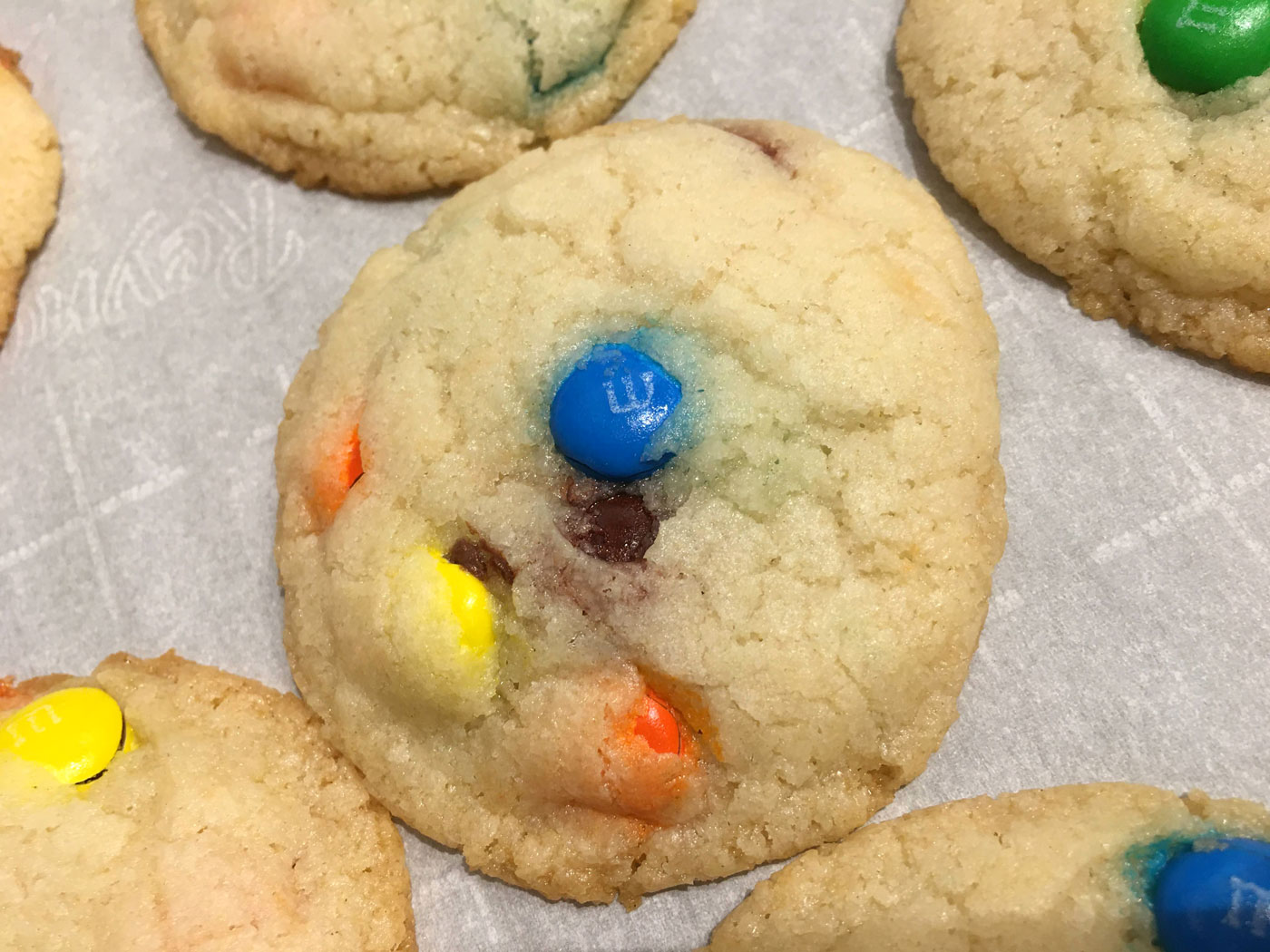 m&m cookies soft eggless