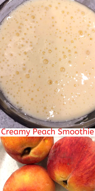creamy peach smoothie lassi with yogurt and milk