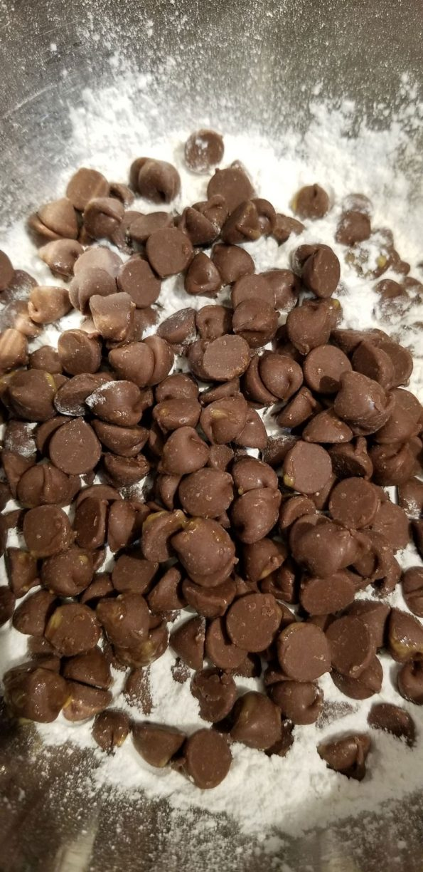 add chocolate chips to flour