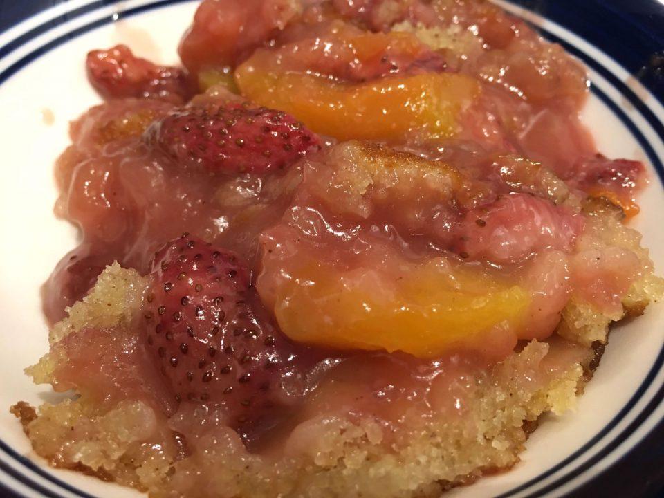 juicy strawberry peach cobbler