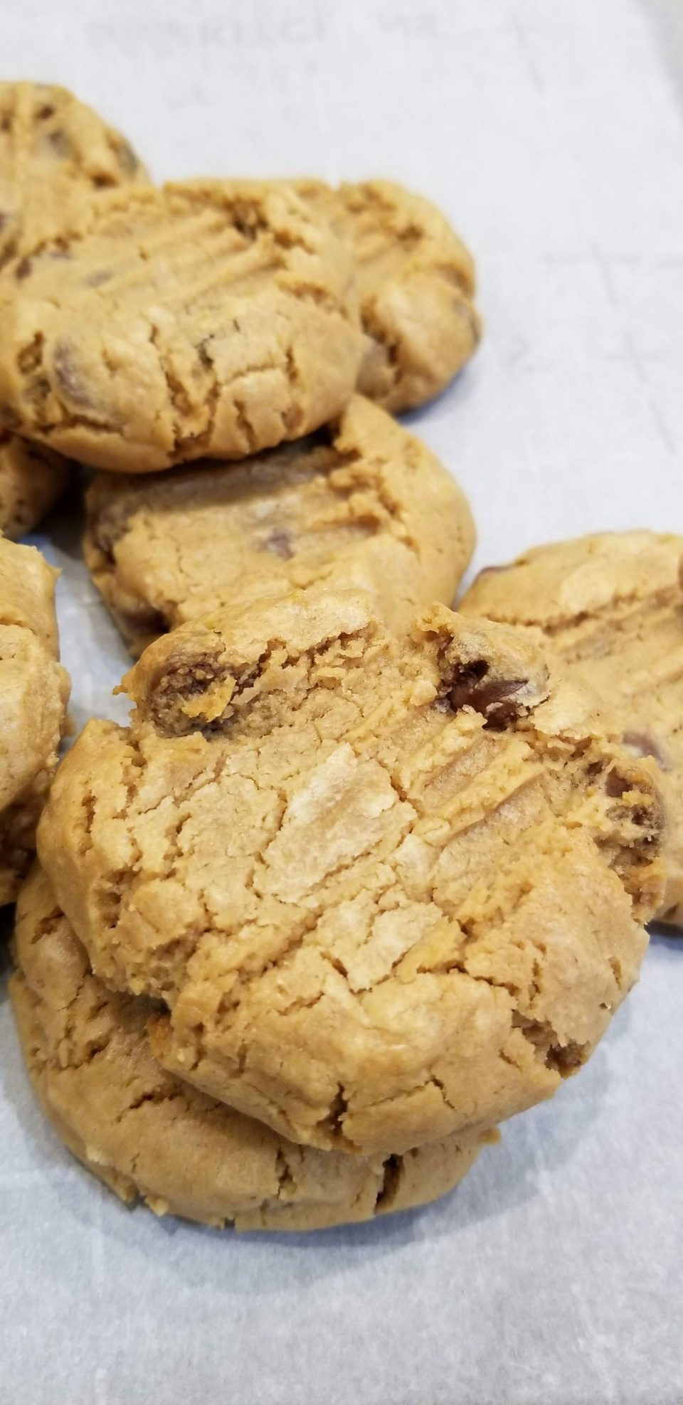 soft chewy peanut butter cookies with chocolate chips