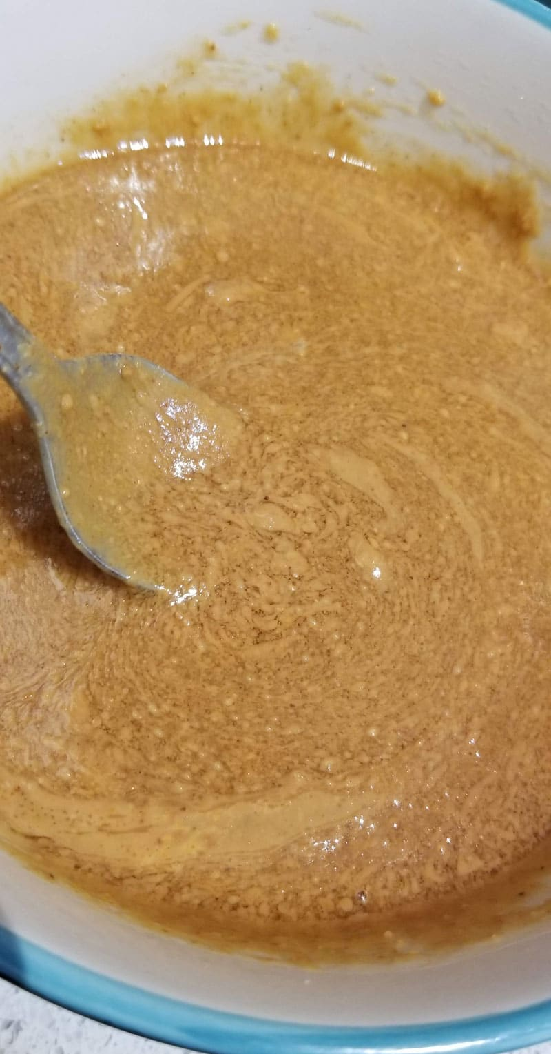 peanut butter and maple syrup mixed