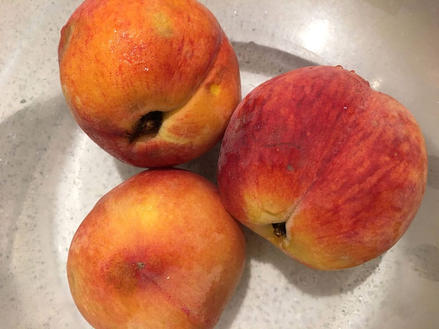 ripe yellow peaches