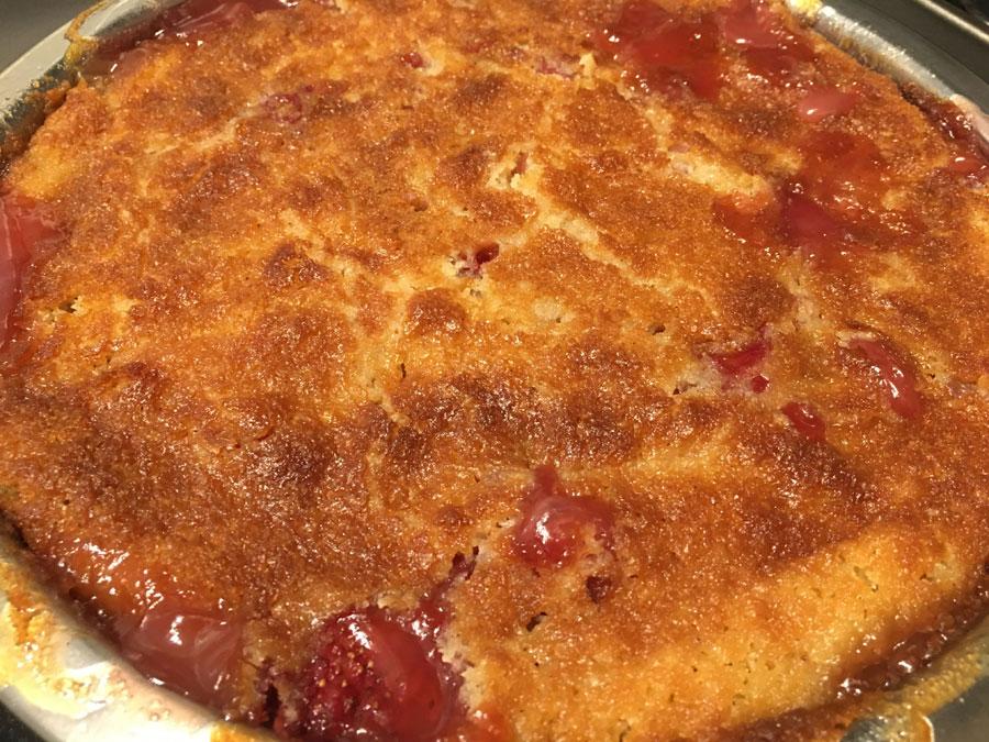 strawberry peach cobbler baked
