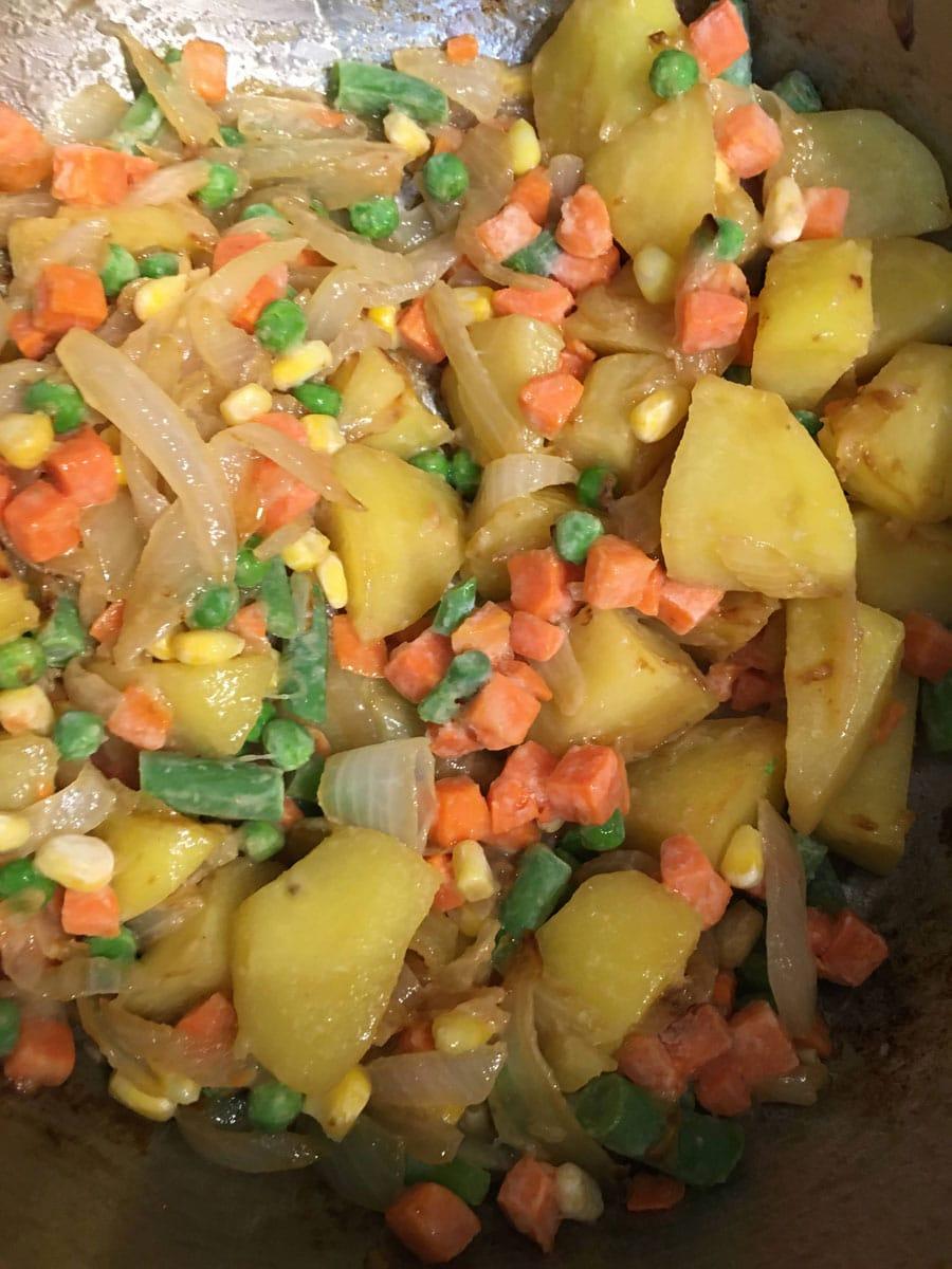 frozen vegetables to pulao