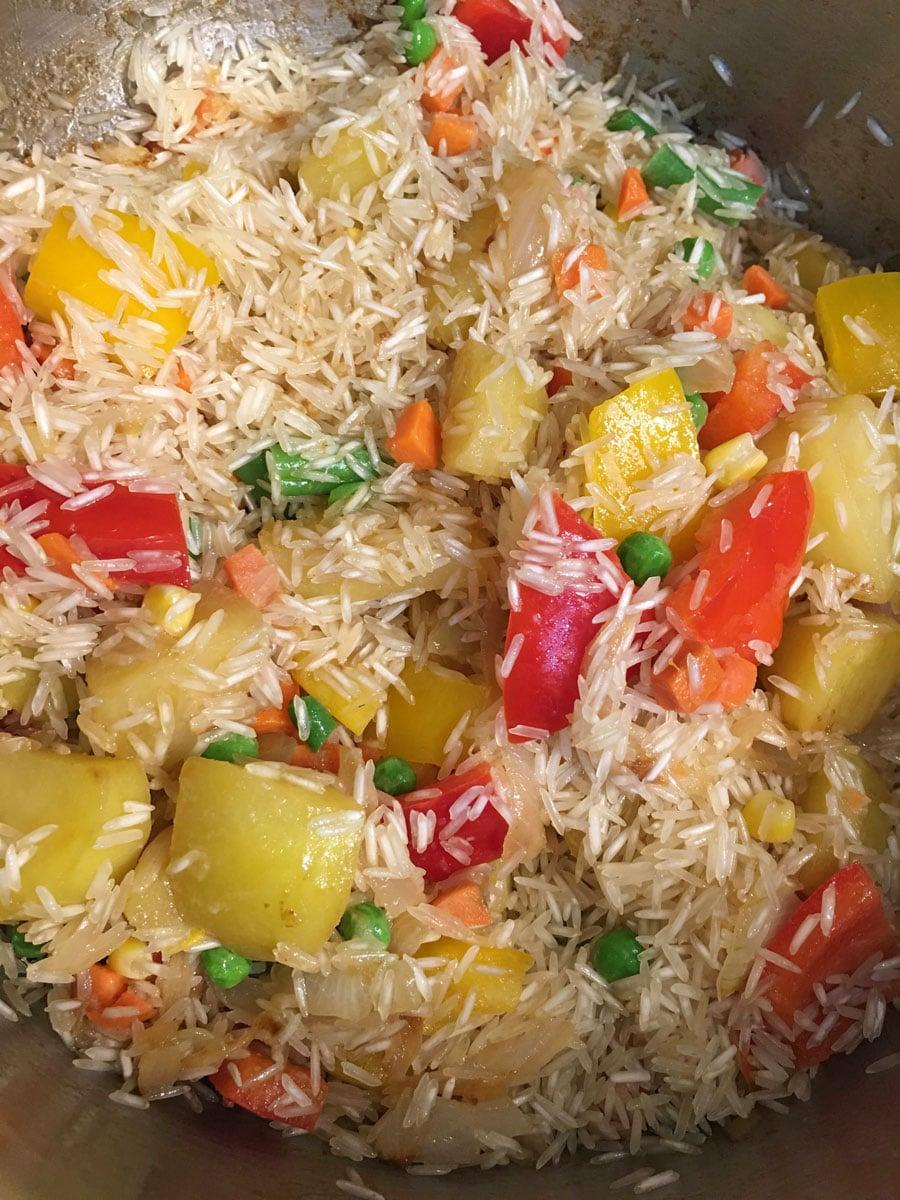 saute rice for pulao