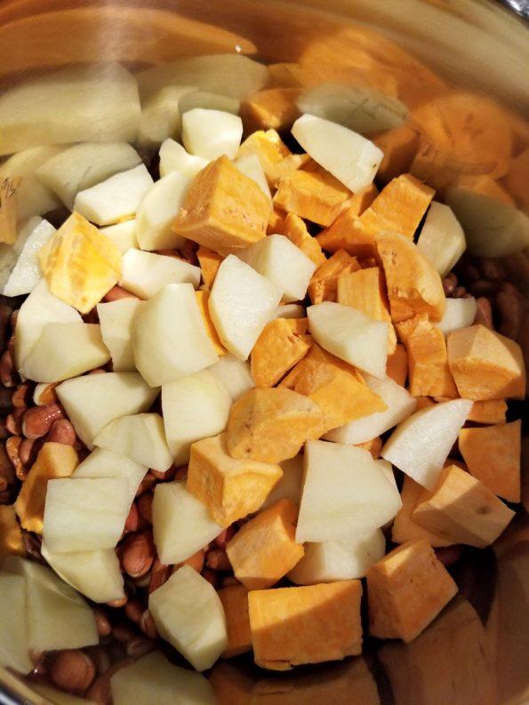 adding sweet potatoes